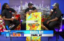 Kofi Frempong Toronto Artist showing some of his art on G VIEW TV